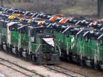 091030018 BNSF 3701 among lineup of stored locos at BNSF Northtown &quot;T&quot; Yard
